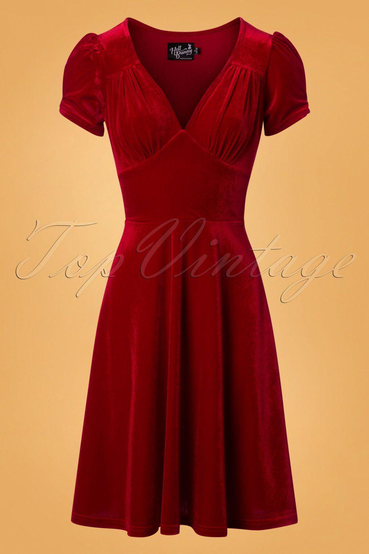 S joanne velvet swing dress in red in beautiful clothes