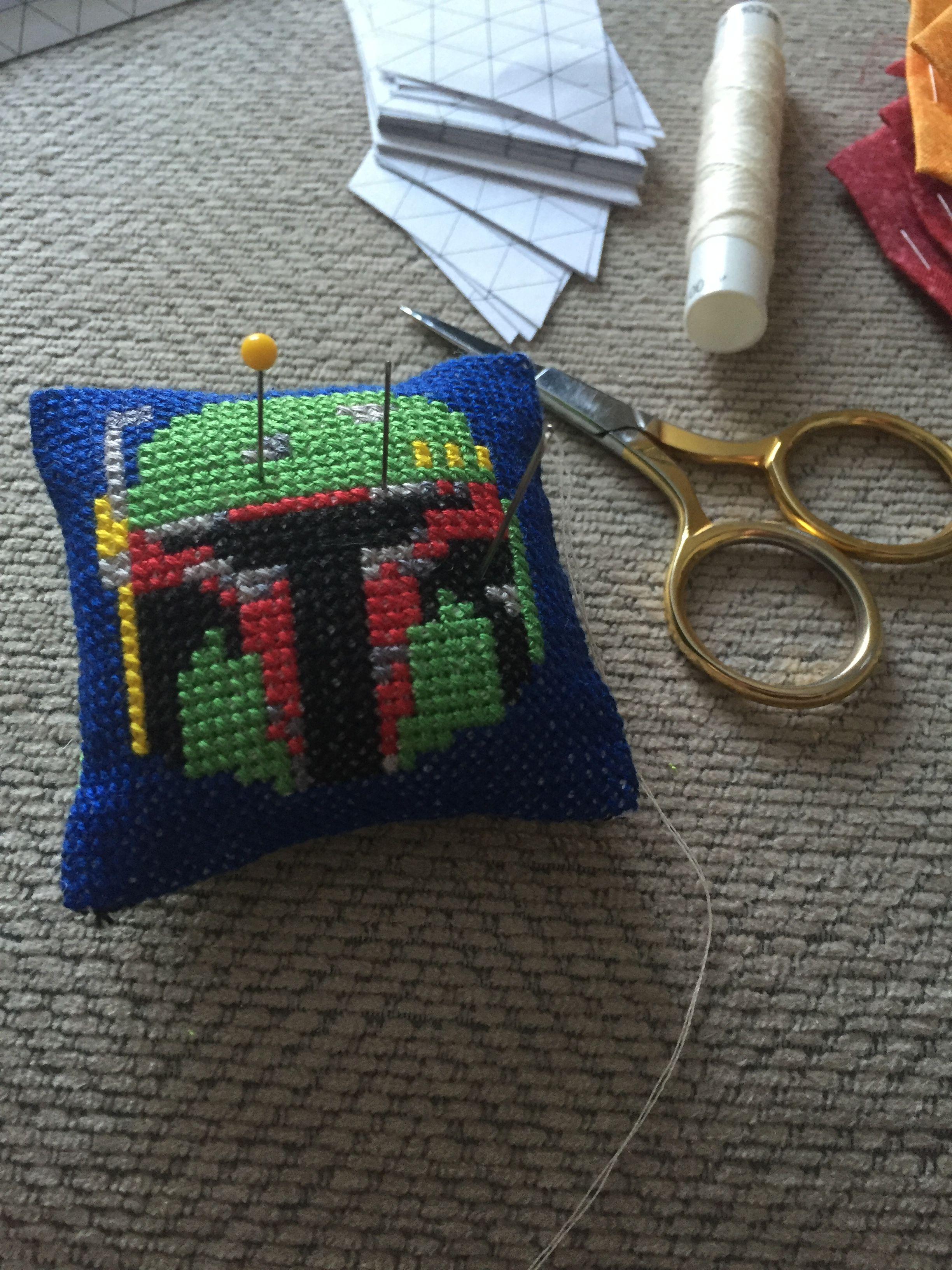 Boba Fett cross stitch pincushion.