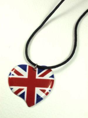 Union Jack Heart String Necklace