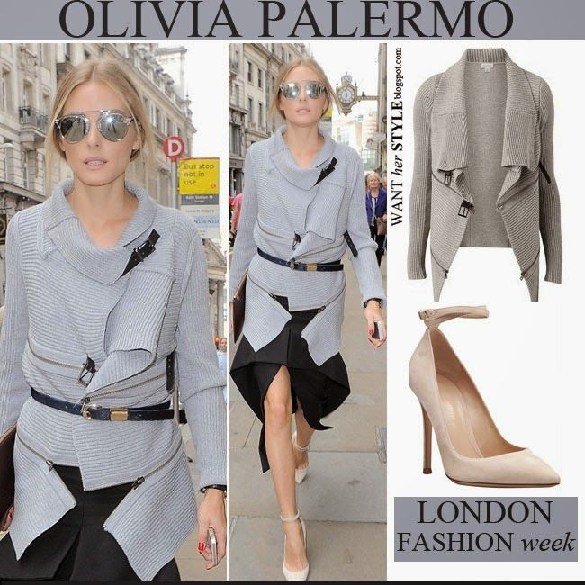 064c0497d276 Olivia Palermo in grey zipper knit cardigan with asymmetric skirt ...
