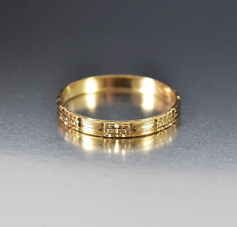 Vintage Art Deco 10k Gold Mens Wedding Band Ring Unisex Vintage Art Mens Simple Intage Mens Gold Wedding Band Mens Wedding Bands Rings Mens Wedding Bands