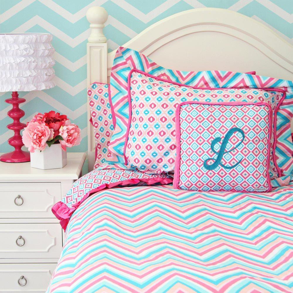 Teen Bedding Chevron Pink Turquoise Girls Chevron Ikat Twin Bedding Duvet Cover Reese