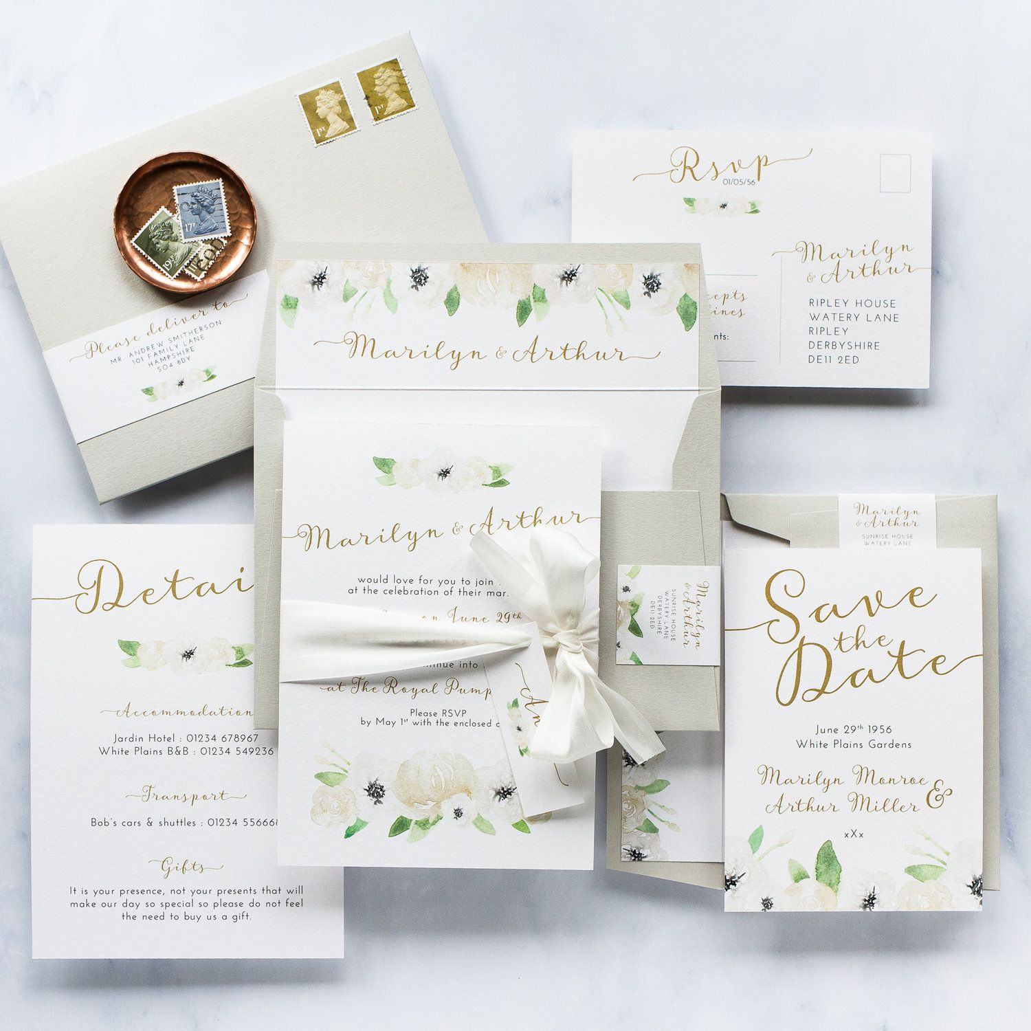 Luxurious Wedding Invitations White Rose Ivory Garden Jpg