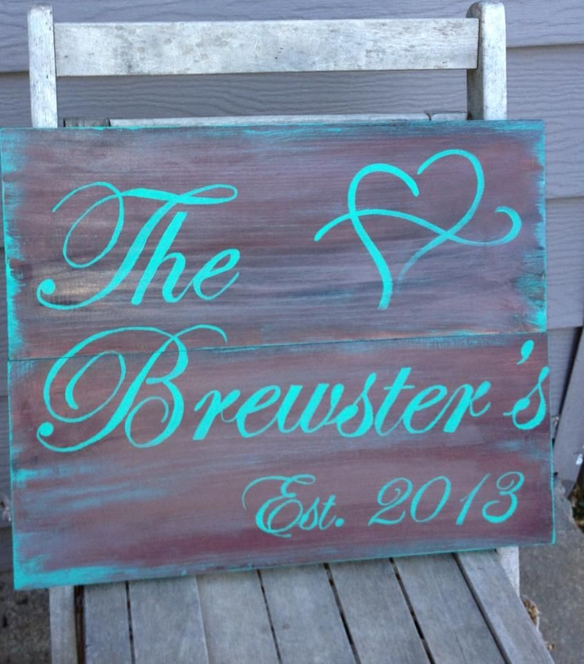 Last Name sign, Est. in teal and brown Wedding signs diy