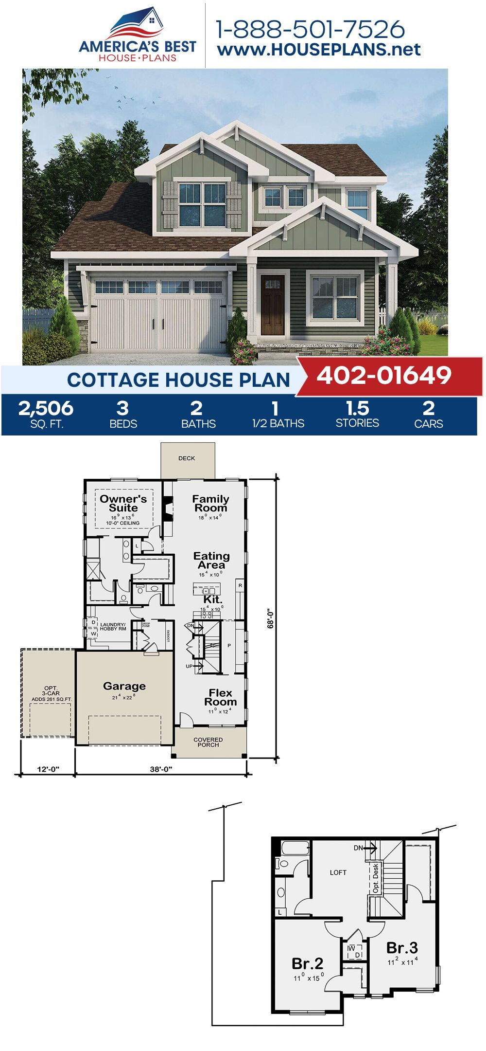 House Plan 402 01649 Cottage Plan 2 506 Square Feet 3 Bedrooms