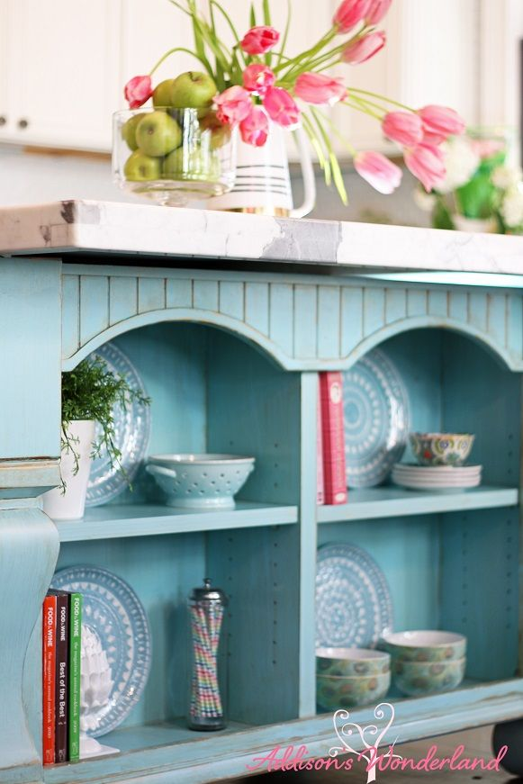A Stunning Open Shelving Blue Turquoise Kitchen Island From To Tabletops These Designer