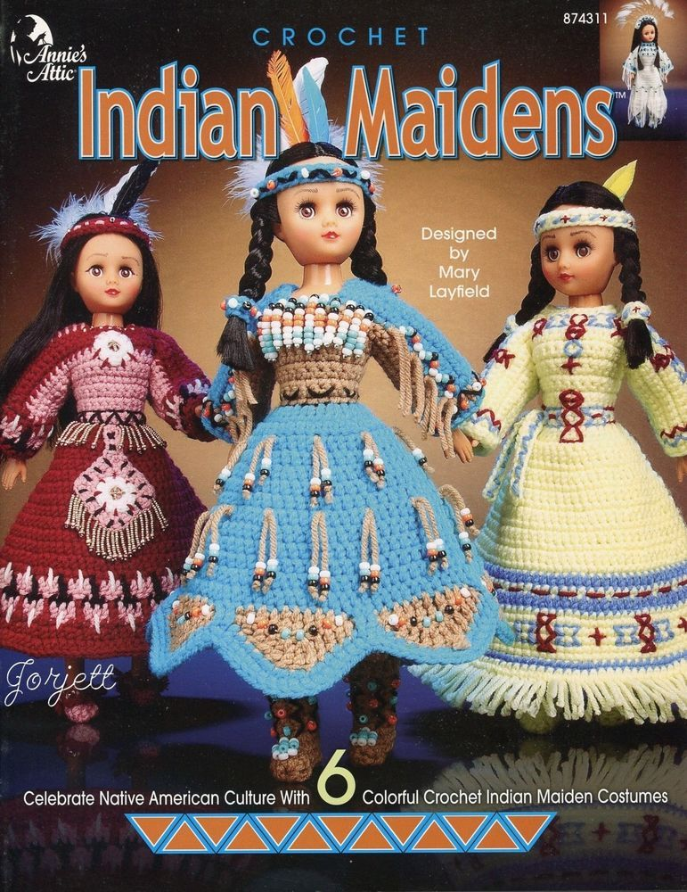 Indian Maidens ~ Native American 15 Doll Clothing crochet pattern booklet NEW  | eBay #indianbeddoll