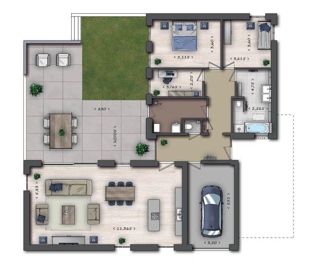 Afbeeldingsresultaat voor plattegrond huis met garage for Plattegrond woning