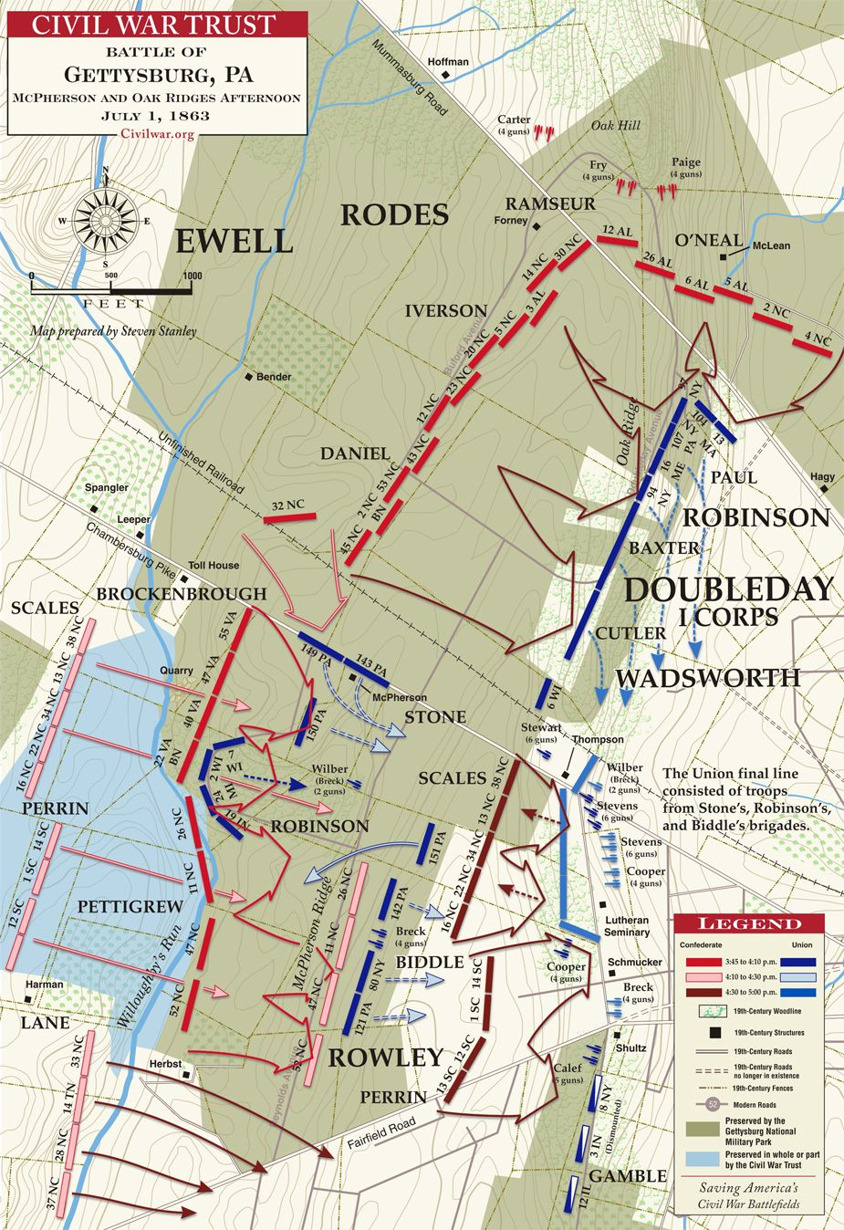 Oak Ridge Nc Map.Gettysburg Mcpherson S And Oak Ridge 3 45 5 00pm July 1 1863
