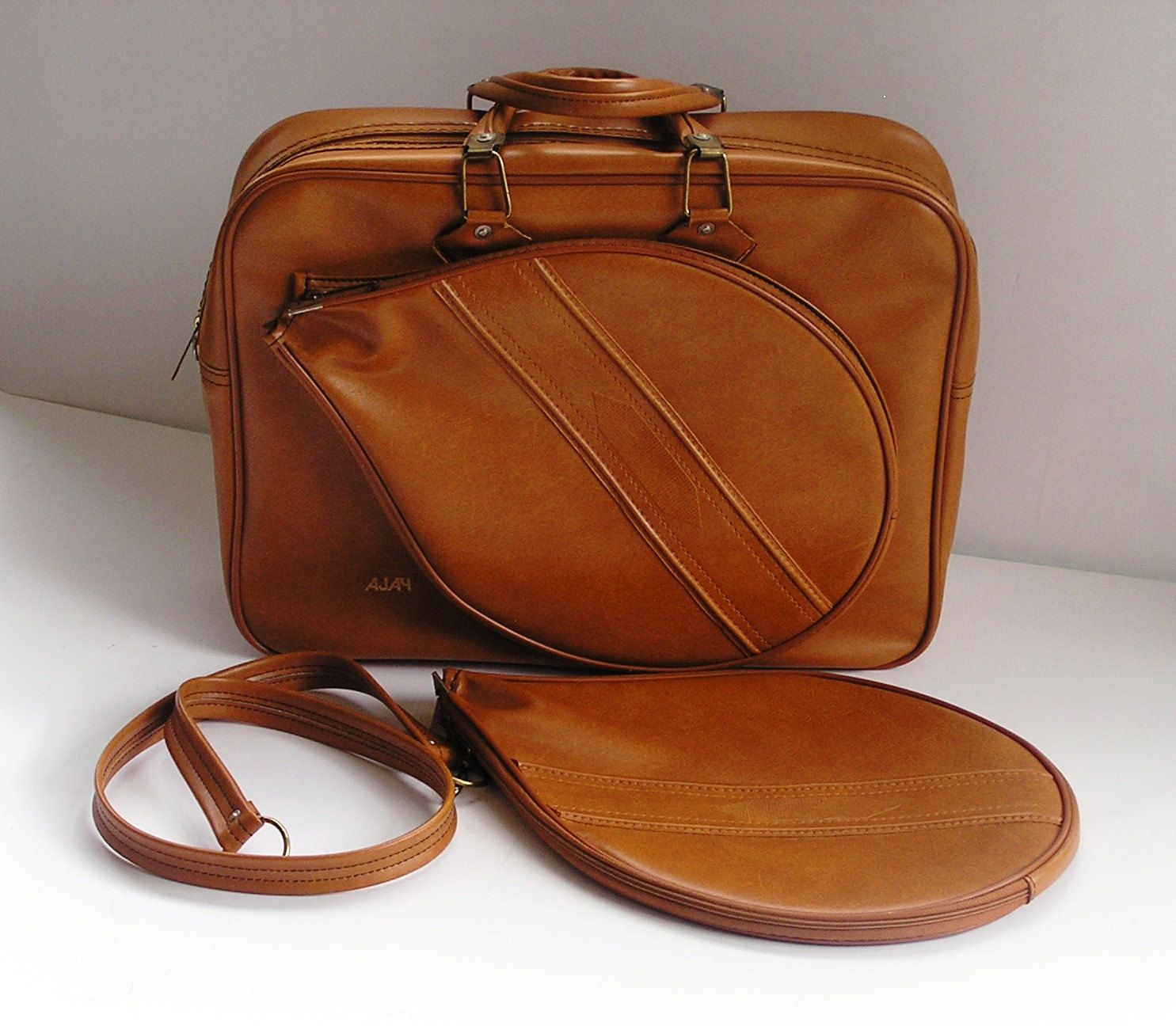 Vintage Brown Leather Ajay Dual Racquet Tennis Bag Leather Bags Tennis Bag