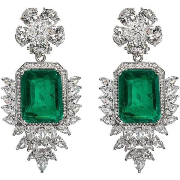 Preowned Elegant Faux Colombian Emerald Diamond Earrings 1 400 Liked On Polyvore Featuring Jewelry Chandelier Green