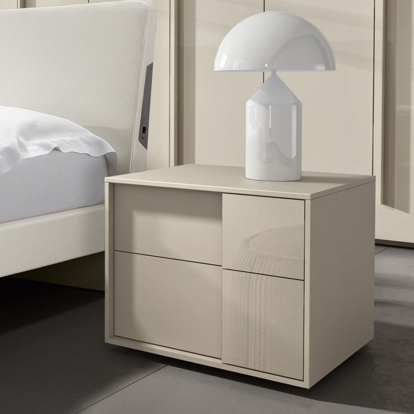 Abbey Coffee Table High Gloss White With 2 Pull Out Drawers: Space 2 Drawer Bedside Cabinet In Cream High Gloss