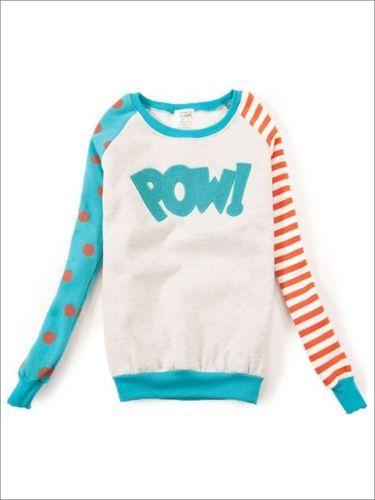 quirky celebrity style POW polka dot stripey green & orange sweater jumper 6 8