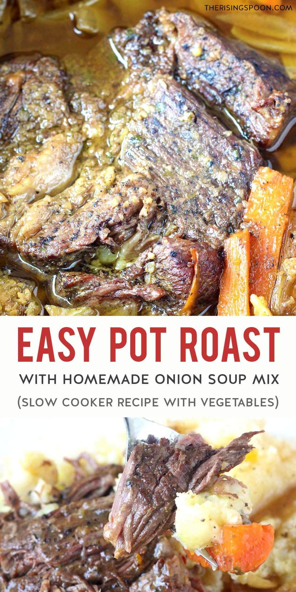 Slow Cooker Pot Roast With Homemade Onion Soup Mix Video Recipe In 2020 Homemade Onion Soup Mix Pot Roast Slow Cooker Recipes