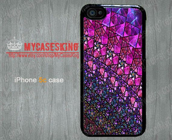 Faux Colorful Stained glass iPhone 5c case Stained glass iPhone5c case Black iPhone 5c case Hard/Rubber case-Choose Your Favourite Color by MyCasesKing, $6.99
