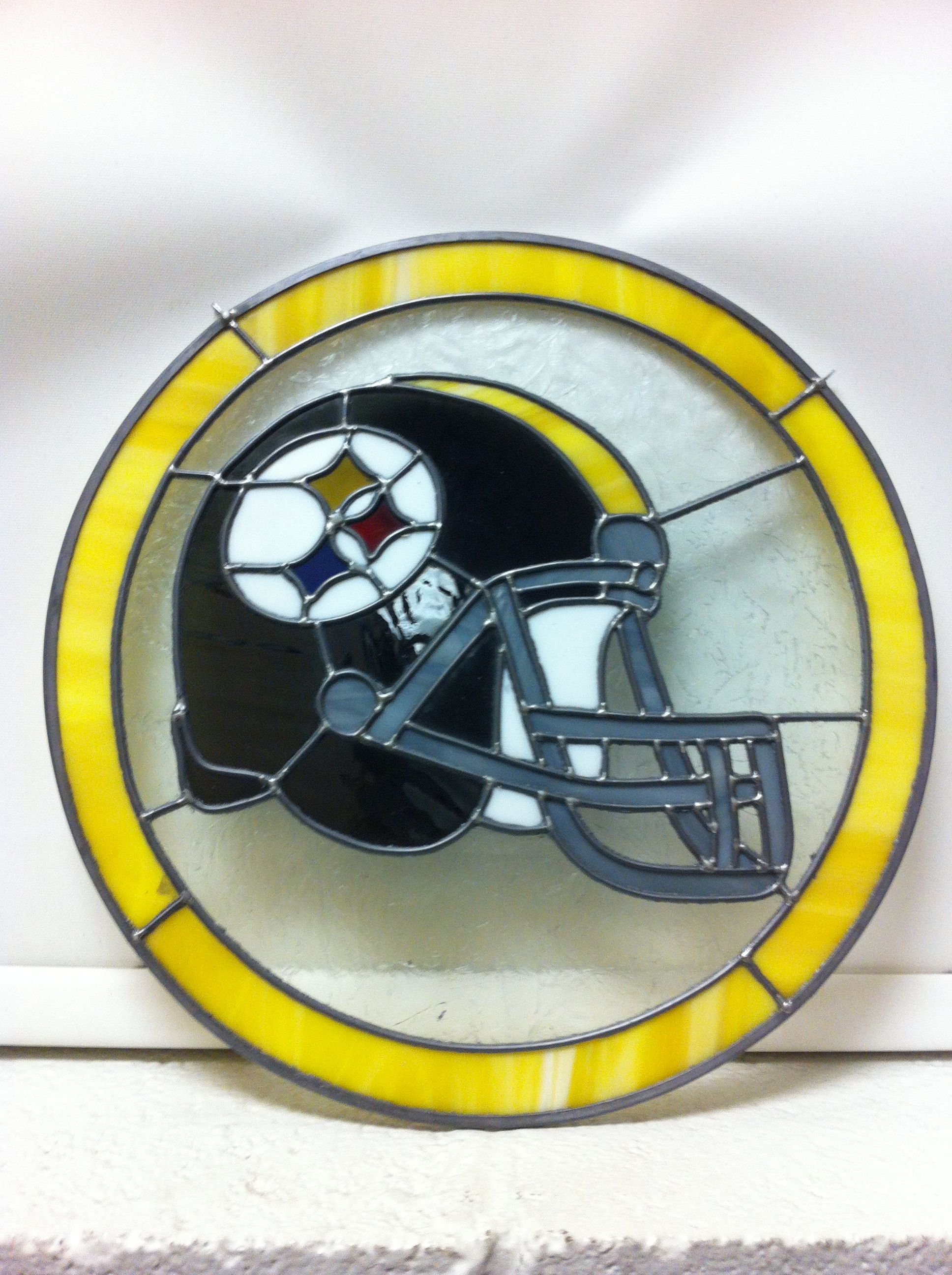 "Stained Glass Steelers Helmet 14"" x 14"""