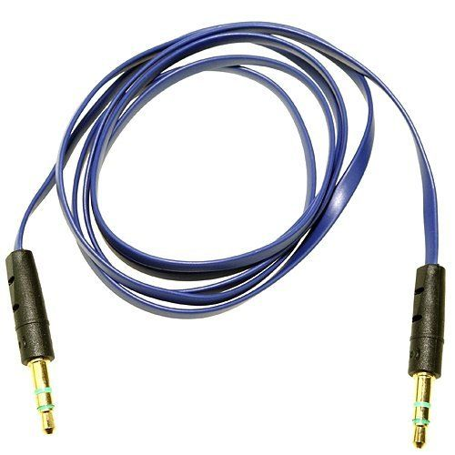 3ft 3 5mm Male M M Stereo Plug Jack Audio Flat Extension Cable For Phone Pc Mp3 Blue Laptop Parts Store By La Laptop Parts Electronic Accessories Jack Audio