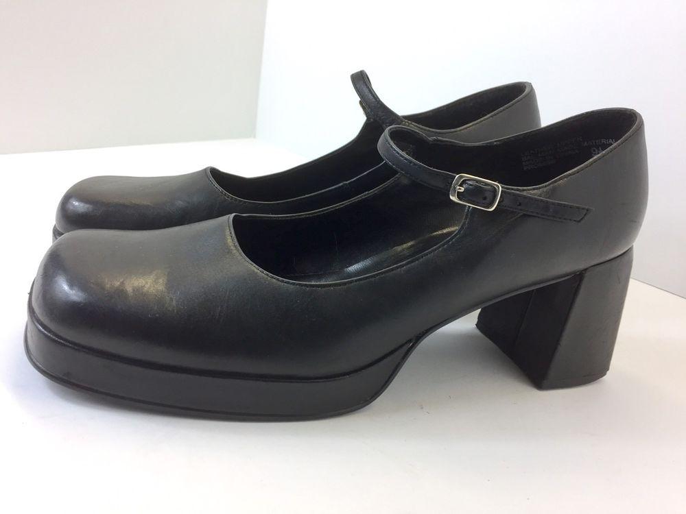 203e78bfe8e Steve Madden Vintage 90s Chunky Square Toe Mary Jane Heels Promise 9.5  Black
