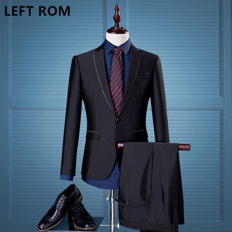 Men\'s Korean style suit, groom\'s wedding dress quality two piece ...