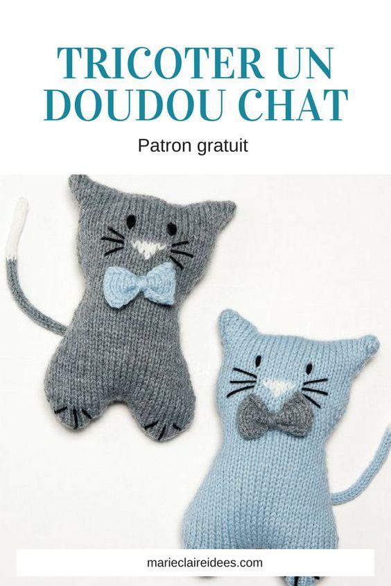 df59caee906 Patron gratuit pour tricoter un doudou chat