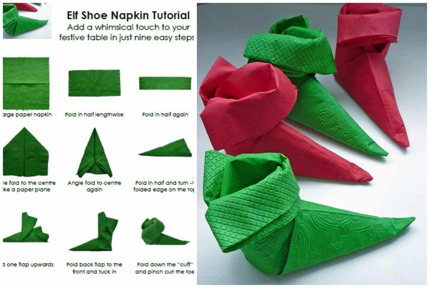 These Are So Cute Napkins Diy Napkins Christmas Napkin Folding
