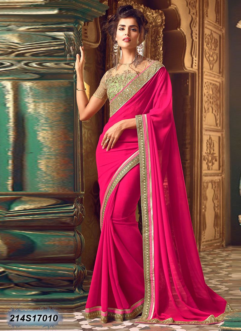 5a9ea7ba3b Exquisite Pink Coloured Georgette Saree | Sarees!!! | Party wear ...