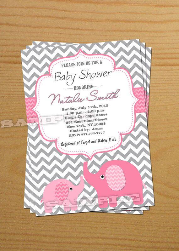 chevron girl baby shower invitation elephant baby | baby shower, Baby shower invitations