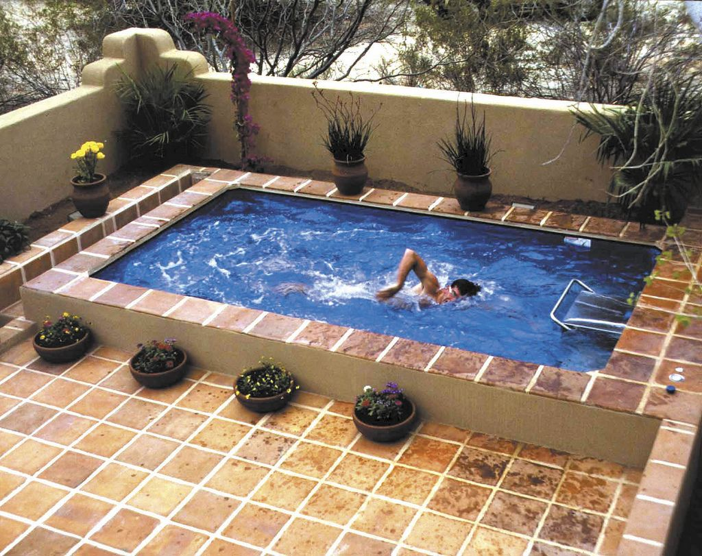 Wonderful Pool, Fancy Small Swimming Pool Designs For Small Space : Simple Small And  Corneric Savvy Space Outdoor Swimming Pool With Pottery Ornaments.
