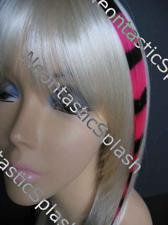 14 inch Hot Pink striped coontail clip on by NeontasticSplash, $11.99