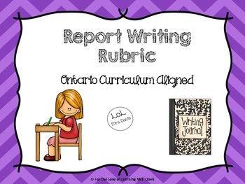 Information Report Writing Rubric (Ontario Curriculum Aligned