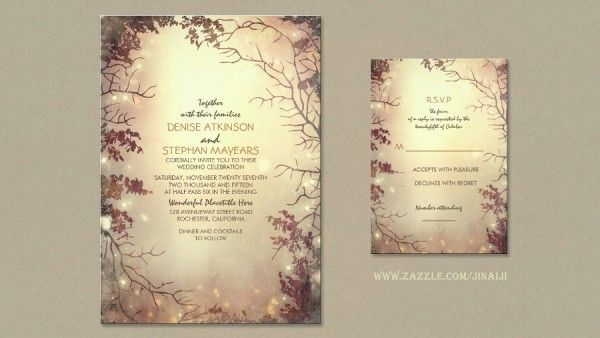 Outdoor Wedding Invitation Wording: Enchanted Forest String Lights Wedding Invitations