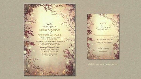Outdoor Themed Wedding Invitations: Enchanted Forest String Lights Wedding Invitations