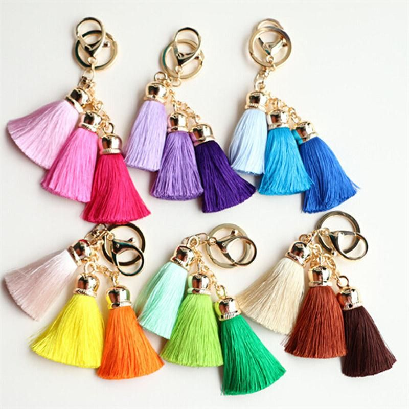 Heißer verkauf Bunte Schlüsselanhänger Tasche AccessoriesIce Seide Quaste Pompom Auto Schlüsselanhänger Schlüsselanhänger #chainbags