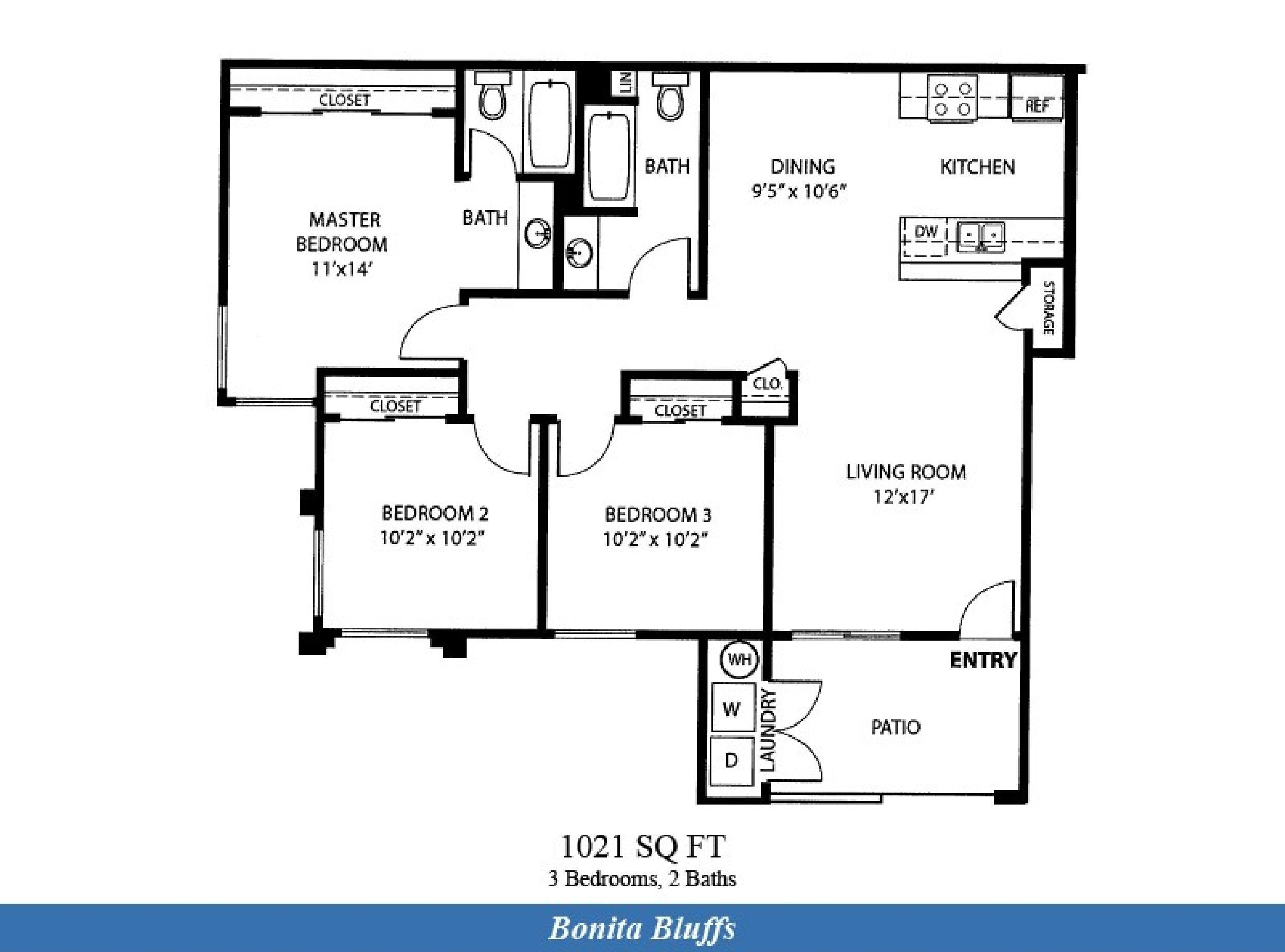 Naval Complex San Diego Bonita Bluffs Neighborhood 3 Bedroom 2 Bath Apartment Floor P Military Housing Lincoln Military Housing San Diego Naval Base Housing