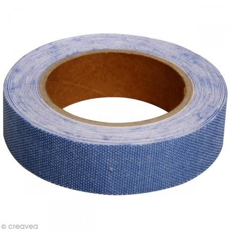 Fabric tape thermofixable - aspect lin bleu jeans - 15 mm x 5 m - Masking tape tissu - Creavea #fabrictape