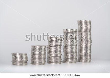 Savings Increasing Columns Of Coins Piles Of Coins