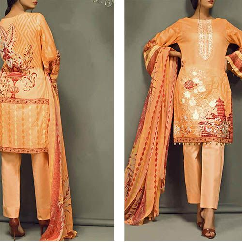 a14cb49fe5 Silkoria by Sana & Sara Embroidered Collection 2018 *Shirt : Printed Lawn  With Embroidered Front. *Dupatta : Printed Chiffon Dupatta.