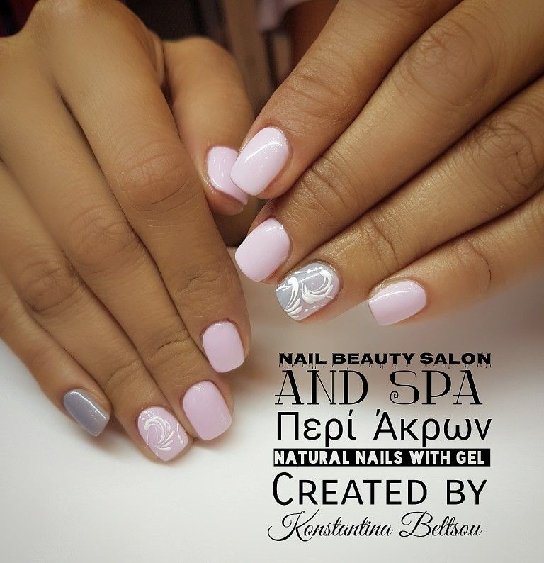 Short nails, natural nails with gel, nail art, pink nails | Nails by ...