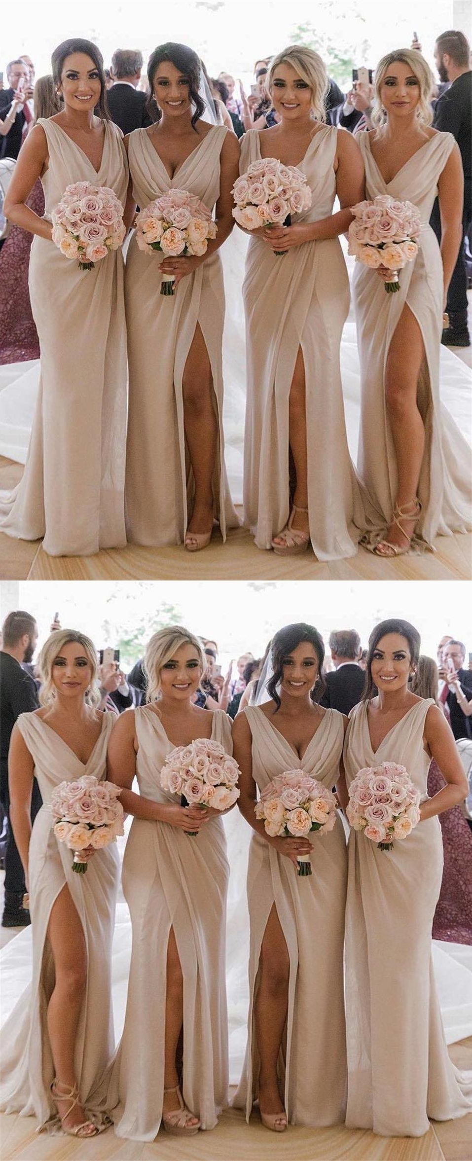 Cheap Champagne Chiffon Long Bridesmaid Dresses Elegant Wedding Party Dresse Mermaid Bridesmaid Dresses Champagne Bridesmaid Dresses Ruffles Bridesmaid Dresses