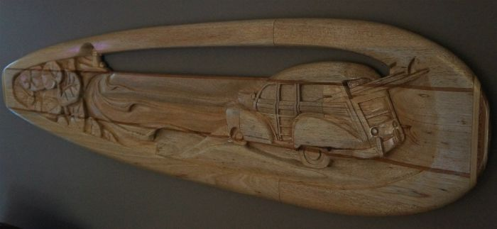 Carved Surfboard Art by Rick Welch