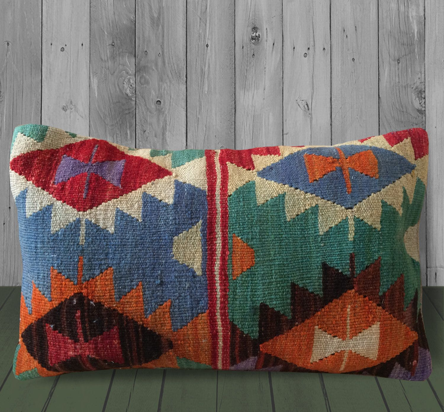 Green Orange Blue Southwestern Throw Pillows 12x20 Kilim Pillow
