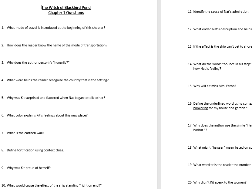 Witch Of Blackbird Pond Chapter Short Answer Questions Witch Of Blackbird Pond This Or That Questions Short Answers