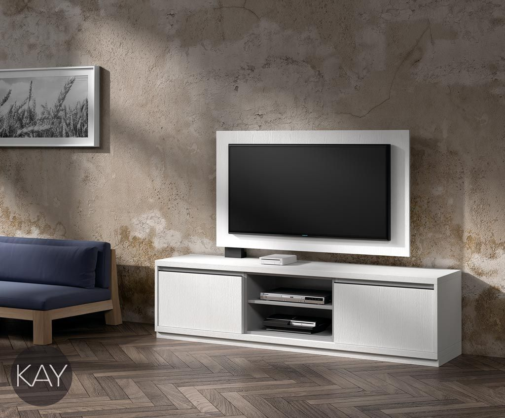 Mueble Pala La Televisi N Con Panel Tv Giratorio Color Blanco  # Muebles Giratorios Para Tv