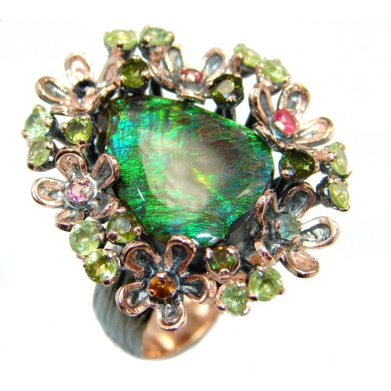 3e07d6fe8 Large Genuine Canadian Ammolite Rose Gold over .925 Sterling Silver handmade  ring s. 7 adjustable