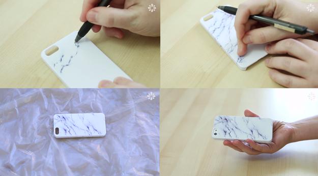 Create A White Marble Using A Gel Pen Diy Phone Case Diy Phone