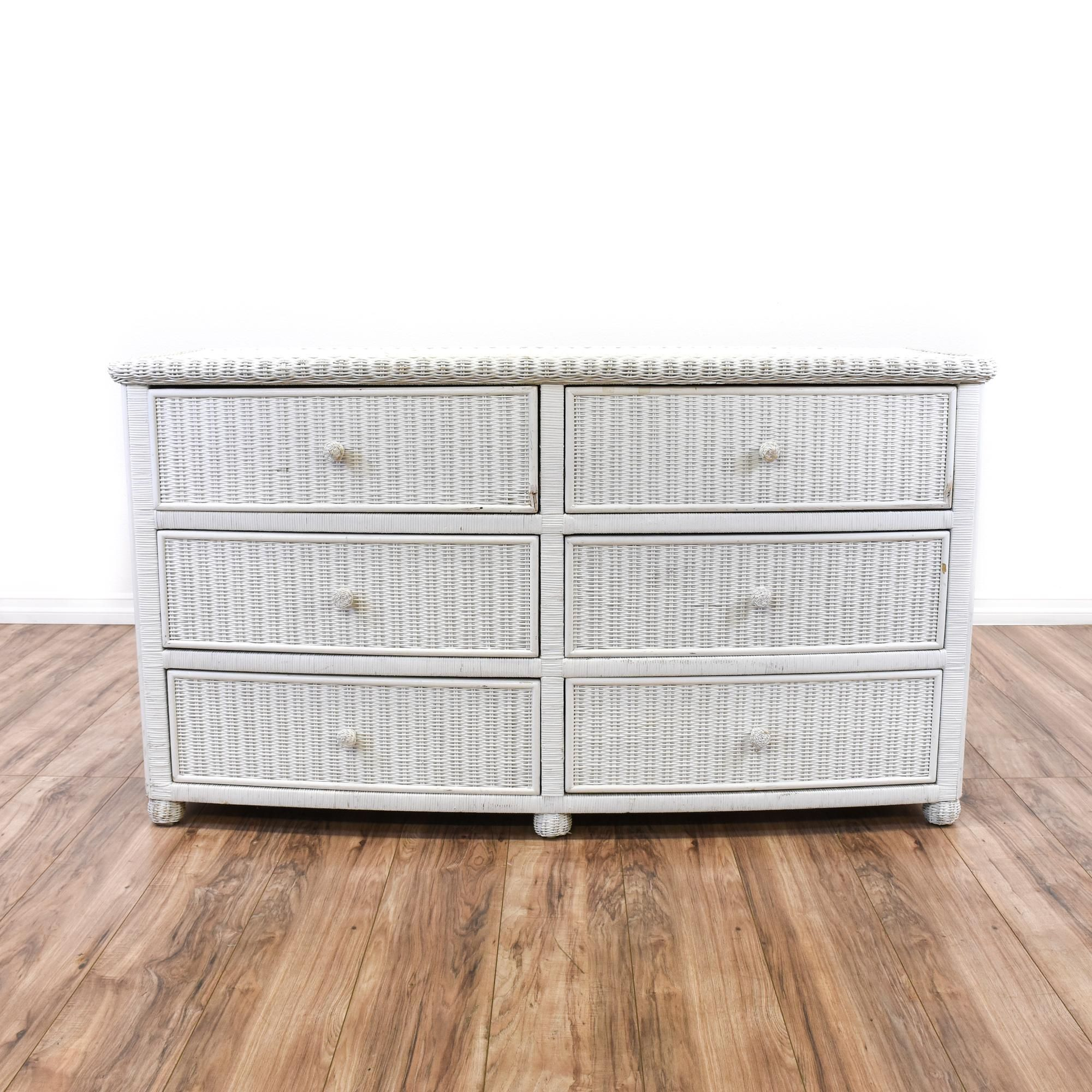 This Long Dresser Is Featured In A Woven Wicker With A Fresh White Paint Finish This Beach Chic Dresser Has 6 Spacious Vintage Furniture Wicker Dresser Wicker [ 2000 x 2000 Pixel ]