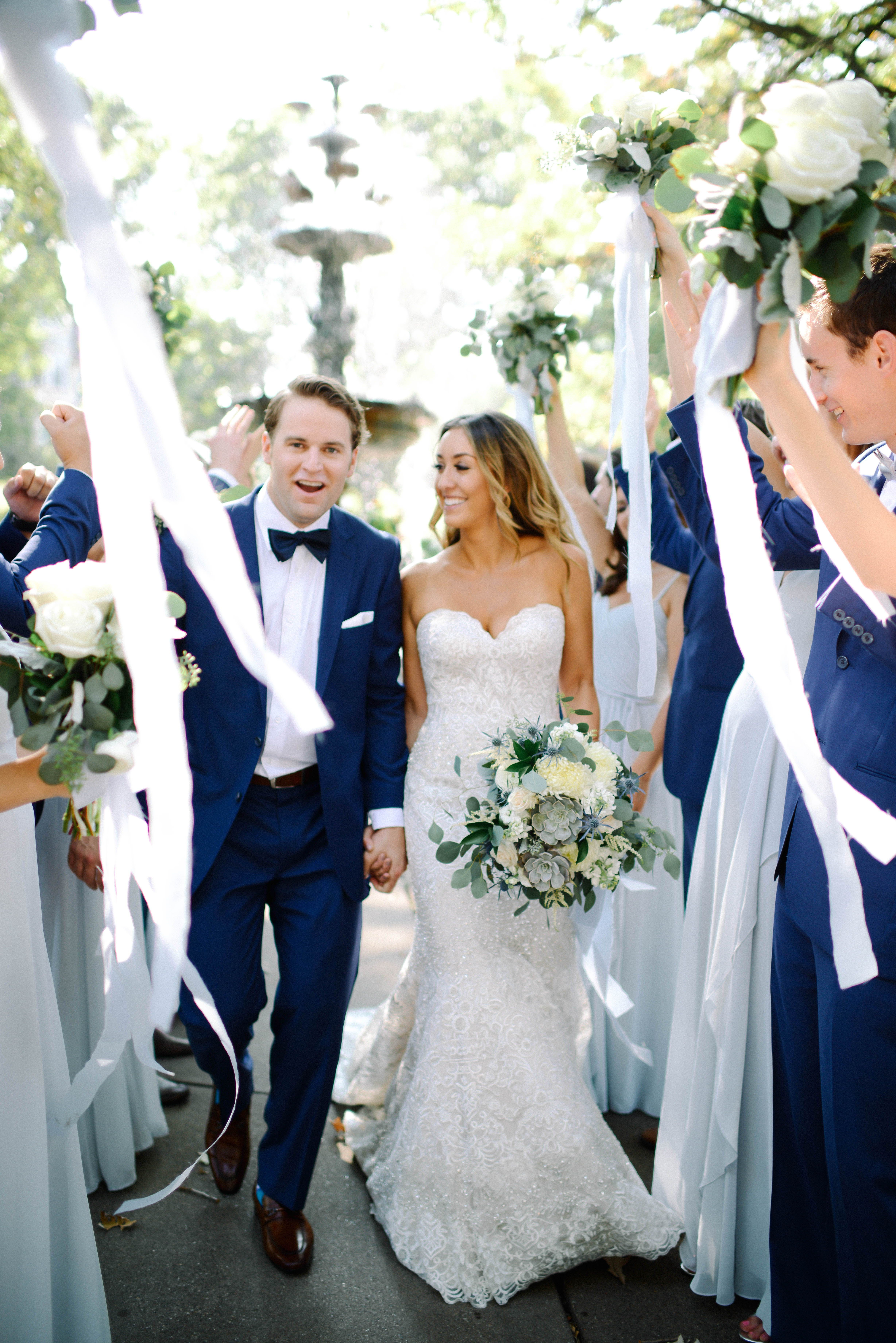White and blue wedding dresses  MN September Wedding  Modern classic bride  Navy Blue Groom Suit