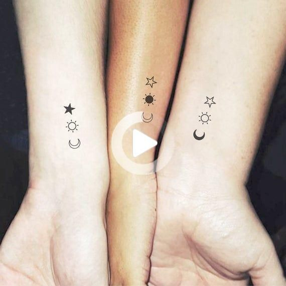 Matching Crescent Sun And Star Temporary Tattoo Set of 3x2 | Etsy