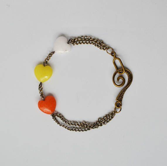 Bronze bracelet Multicolored Quartz beads Summer bracelet Heart shaped beads