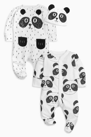 f806f2c420f Monochrome Panda Sleepsuits Two Pack With Hat (0-18mths)